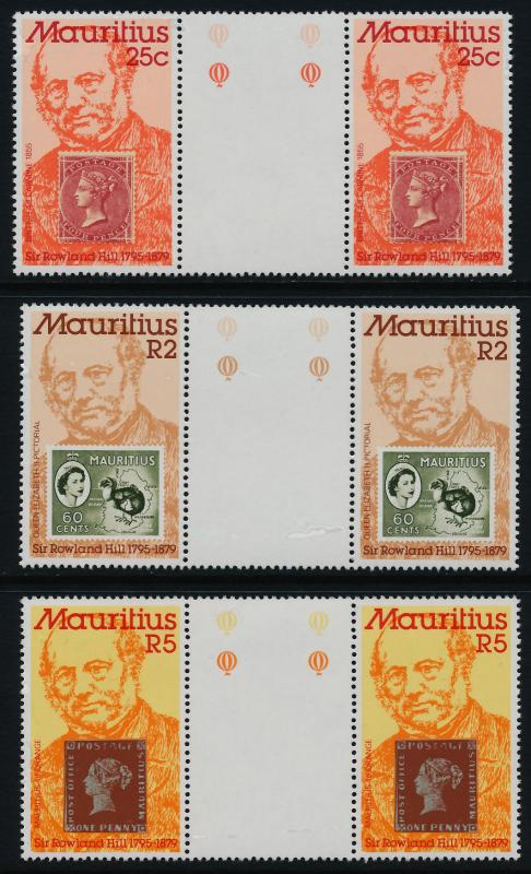 Mauritius 484-6 Gutter Pairs MNH Rowland Hill, Stamp on Stamp, Birds, Map
