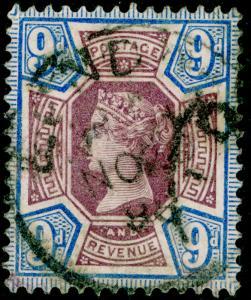 SG209, 9d dull purple & blue, USED. Cat £45.