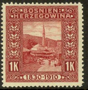 BOSNIA AND HERZEGOVINA 191 1K Mosque Franz Joseph Birthday Jubilee Sc 59 MLH
