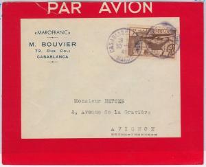 MAROC Morocco -  POSTAL HISTORY - COVER to FRANCE 1943: Casablanca Bourse PURPLE