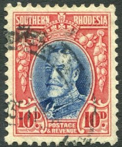 SOUTHERN RHODESIA-1933 10d Blue & Scarlet Perf 11½ Sg 22a GOOD USED V35956