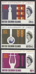 British Solomon Islands Sc#171-173 UNESCO 20th Anniversary (1966) MNH