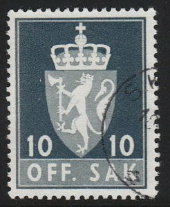 Stamp Norway Official Sc O066 1955 Dienst Coat Arms Used