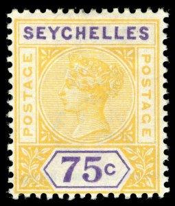 Seychelles 1897 QV 75c yellow & violet very fine mint. SG 33. Sc 17.