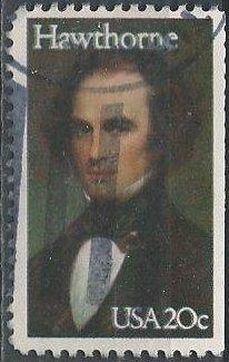 US 2047 (used, clipped at right) 20¢ Nathaniel Hawthorne