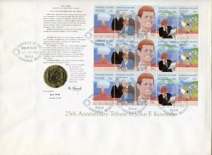 MARSHALL ISLANDS 1988 25th ANN TRIBUTE TO JOHN F. KENNEDY SHEET FIRST DAY COVER