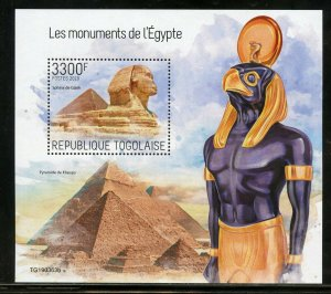 TOGO 2019 ANCIENT EGYPTIAN MONUMENTS  SOUVENIR SHEET  MINT NEVER HINGED