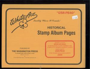 2009 White Ace U.S. Regular Issue Plate Number Stamp Supplement Pages USR-PB40