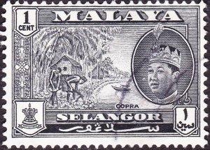 MALAYA SELANGOR 1961 1c Black SG129 Fine Used