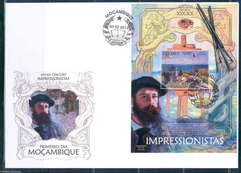 MOZAMBIQUE 2013 IMPRESSIONSISTS CLAUDE MONET  S/SHEET FIRST DAY COVER