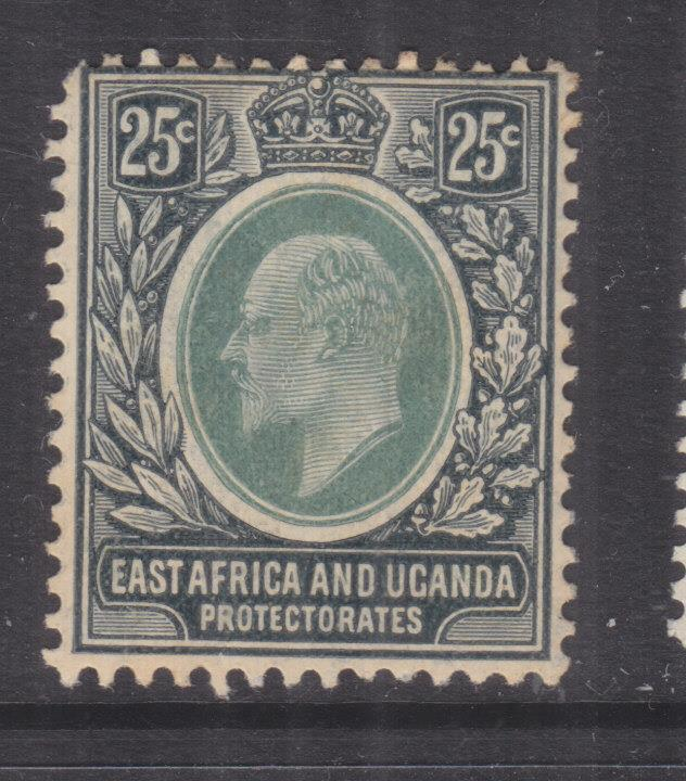 BRITISH EAST AFRICA, 1907 KEVII,  25c. Green & Black, lhm., corner perf. short.