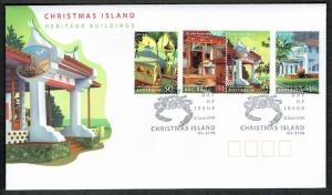Christmas Is. Heritage Buildings 4v FDC SG#596-599