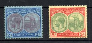 St Kitts & Nevis KGV 1921 2/- & 5/- mint LHM #47 #47C WS13148
