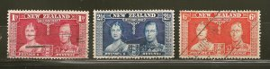 New Zealand 223-225 King George VI Queen Elizabeth Coronation Used