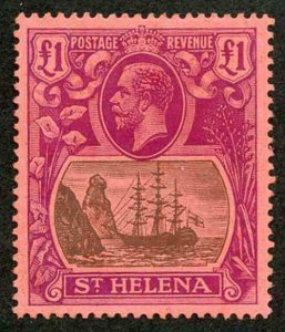 St Helena SG96 1922 One Pound Grey and Purple/red Fine M/Mint