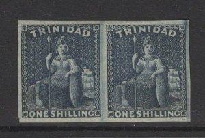 TRINIDAD SG29 1859 1/= INDIGO PAIR UNUSED