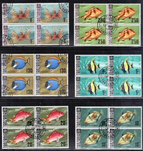 TANZANIA # 28,29,31,32,33.34 CTO NEVER HINGED 1967-71 FISH BLK of 4
