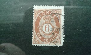 Norway #20 used pulled corner perf e1912.6039
