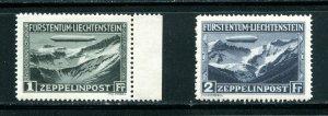 LIECHTENSTEIN C7 - C8 Zeppelin MNH 1931 CV $565