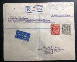 1931 Mombasa Kenya First Flight Airmail Cover FFC To Zanzibar