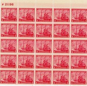 #736 – 1934 3c Maryland Tercentenary.  Plate Block of 25.  MNH OG.