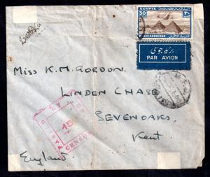 Egypt WWII censored cover to UK from Major Gordon WS9631