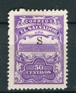 SALVADOR; 1915-16 Unissued Remainders ' S ' Optd fine Mint hinged 50c. value