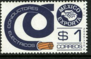 MEXICO EXPORTA 1114, $1P ELECTRICAL COND. UNWMKD PAPER 1 MNH
