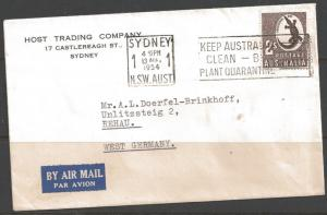 Australia 1954 2S Aboriginal Art, Sydney to West Germany (13 Aug 1954)