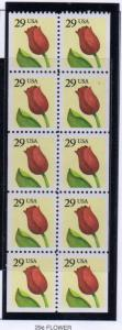 United States Sc 2527a 1991 29 c Flower stamp booklet pane mint NH