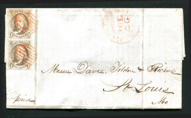 Vert Pair US #1 5¢ Franklin ~ Express Mail Boston to St. Louis 1849