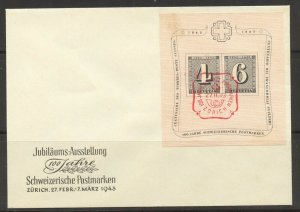 Switzerland, 1943 Stamp Centennial Souvenir Sheet, on special cover, superb