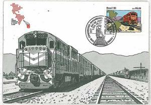 16066   - BRAZIL  - POSTAL HISTORY -  TRAINS : MAXIMUM CARD  1990