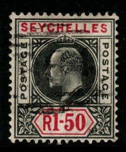 SEYCHELLES SG69 1906 1r50 BLACK & CARMINE USED