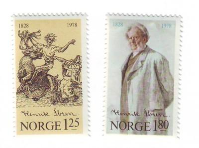 Norway Sc725-6 1978 Henrik Ibsen stamps mint NH