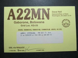 5678 Amateur Radio QSL Card Gaborone Botswana