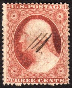 1857, US 3c, Washington, Used, Sc 26