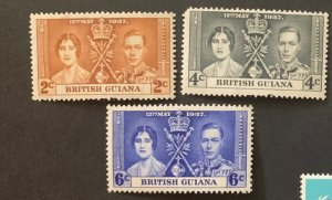 STAMP STATION PERTH British Guiana #227-229 Coronation Issue MH  1937