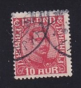 Iceland    #115  used   1920  Christian X   10a  red
