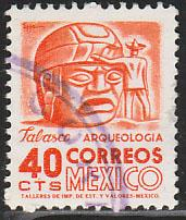 MEXICO 1090, 40c 1950 Defin 9th Issue Unwmkd Fosfo Coated USED. F-VF. (1444)