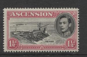 ASCENSION- Scott 42A - The Pier -1949 - MNH - Single 1.1/2d Stamp