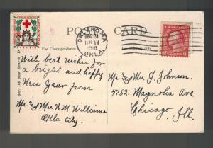 1918 Oklahoma City OK USA Cover New Year Christmas seal Postcard to Chicago