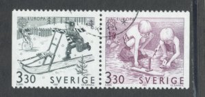 Sweden 1737 - 8 Used Attached Pair (1