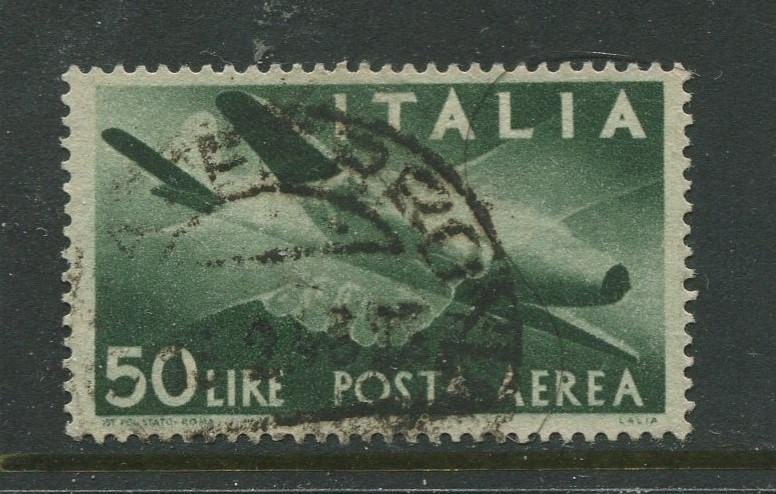 Italy - Scott C113 - Air Post Issue -1945 - Used - Single 50 l Stamp