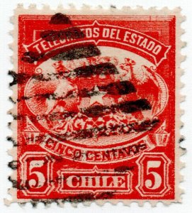 (I.B) Chile Telegraphs : Arms 5c (small format)