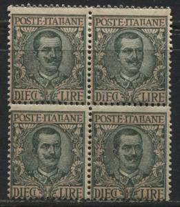 Italy 1910 12 lire block of 4 mint o.g. hinged (JD)