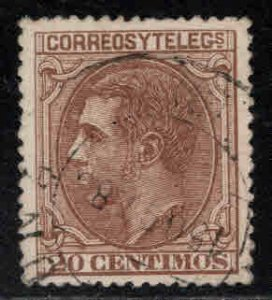 Spain 245 Used King Alfonso II 20c 1879 CV $14