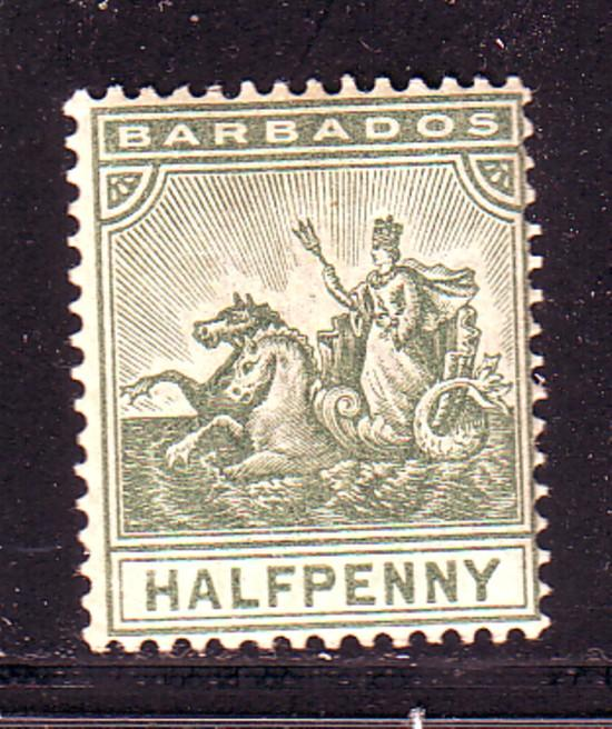 Barbados Sc 71 1892 1/2 d seal of Colony stamp mint
