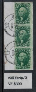 USA #35 Very Fine Used Strip Of Three On Piece - Pos 33 43 53