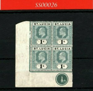 ST LUCIA KEVII Stamp SG.74 1s (1905) Corner PLATE BLOCK{4} LMM/UMM MNH SS26